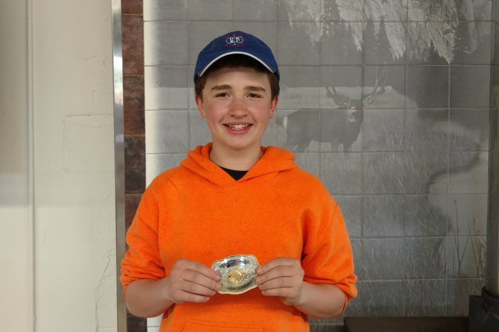Cameron wins his 1st buckle HOA Junior at Canby