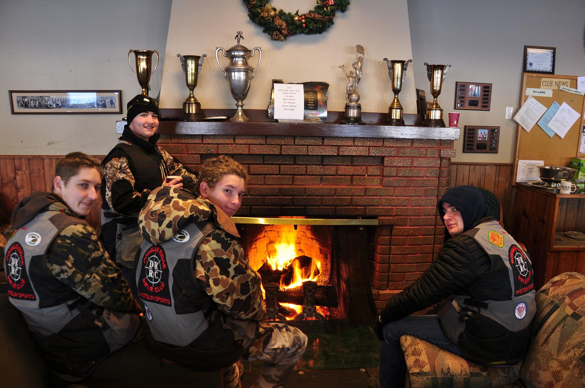 Douglas Ridge shooters warming by the fire-Portland Gun Club Jan 2017