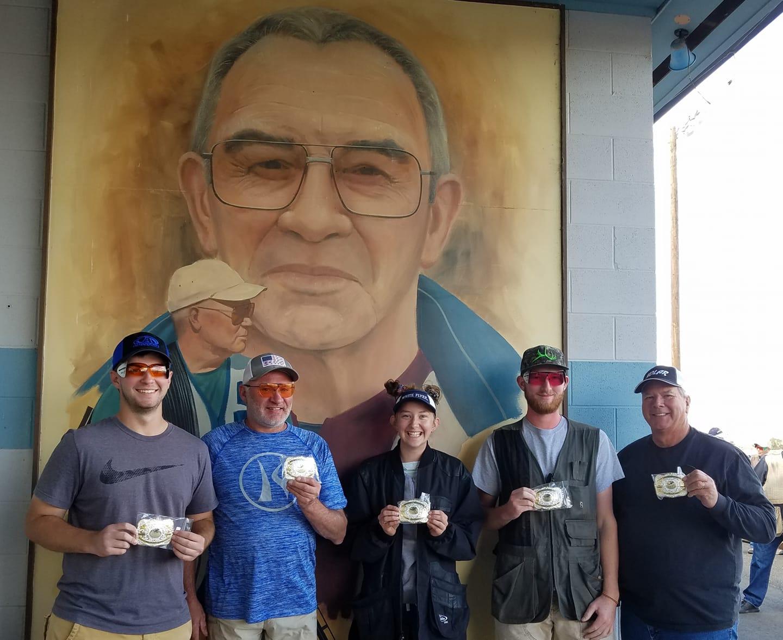 Big Yak 2018 buckle winners-Carson Schlimmer, Ed Klingele, Andrea Bergstresser, Dakotah Eims and Eric Olson
