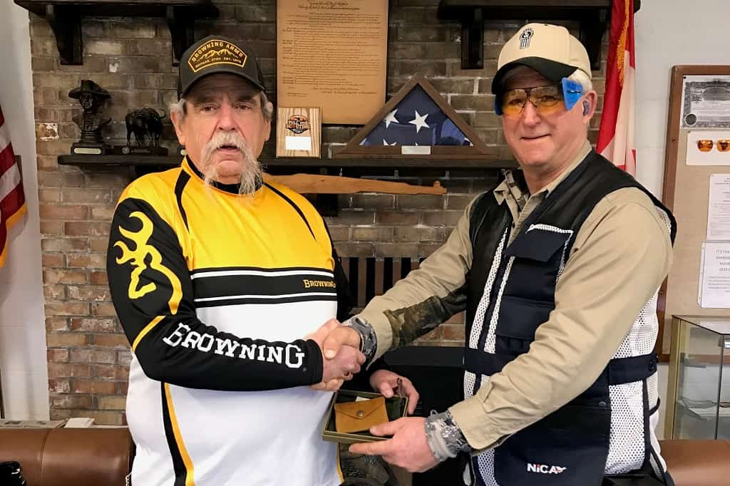 Rick Beach receives trophy from Chuck at Old Skagit Gun Club