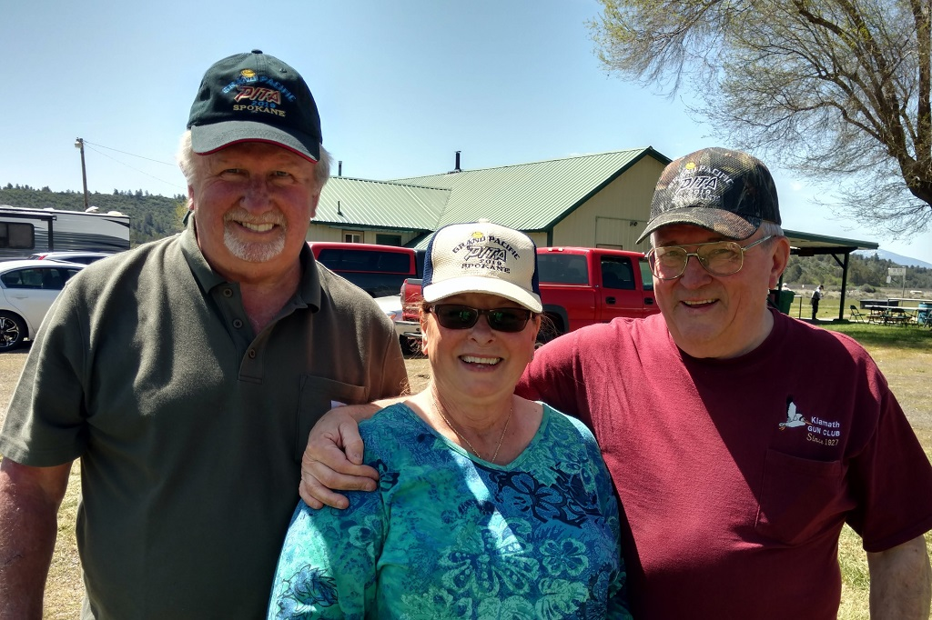 """Ron, Velma and Ron in their """"hot of the presses"""" 2019 Grand Pacific caps"""