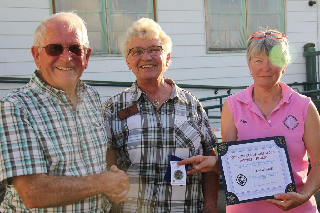 Robert Winchell receives Milestone award from Nadene and Sue