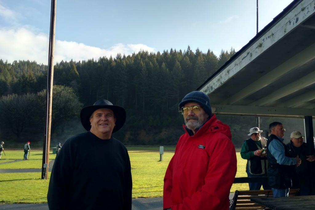 Greg and Bill enjoy sunny skies at the Crab Buckle Shoot