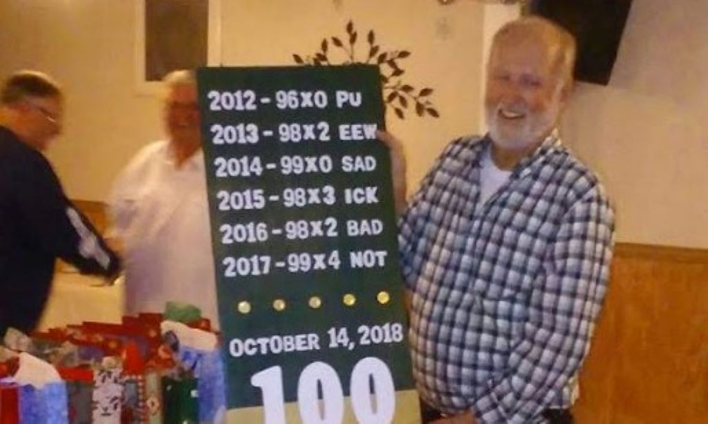 Larry finally shot his first 100 straight - 2018